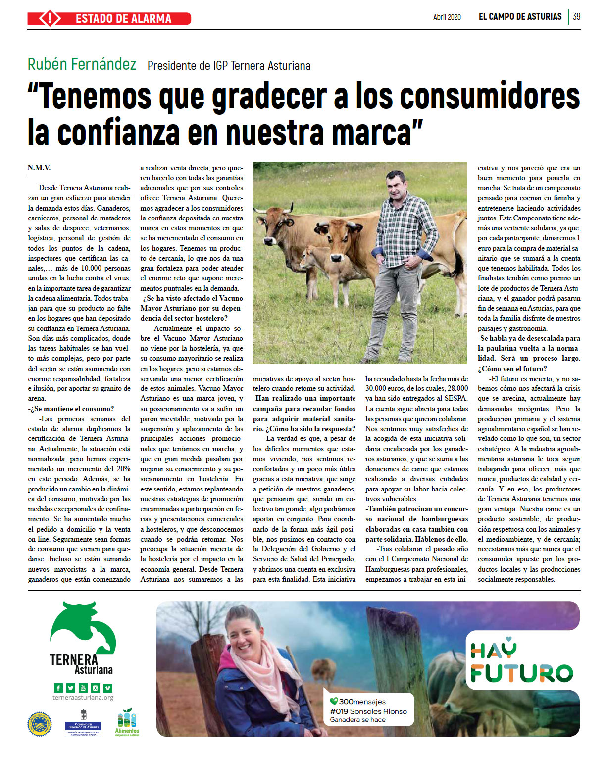¿Cómo está afectando la situación de estado de alarma para hacer frente al coronavirus a IGP Ternera Asturiana?